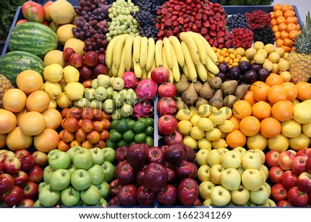 Top view of fruits texture close up as a background #1662341269