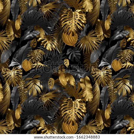 Seamless pattern with tropical leaves in gold color and black, can be used as background wallpaper #1662348883