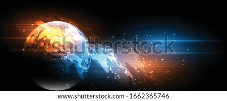 Global network connection World map abstract technology background global business innovation concept  #1662365746
