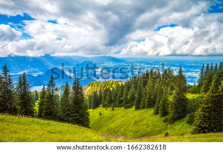 Mountain green hill valley forest landscape. Mountain summit forest panorama. Mountain green landscape #1662382618