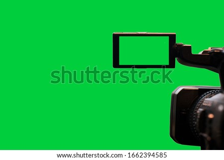 video camera on isolated backgrounds. screen green background