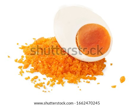 Salted egg yolk powder with salted eggs. Yummy and look delicious. isolated on white background  Royalty-Free Stock Photo #1662470245