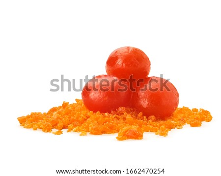 Salted egg yolk powder with salted eggs. Yummy and look delicious. isolated on white background  Royalty-Free Stock Photo #1662470254