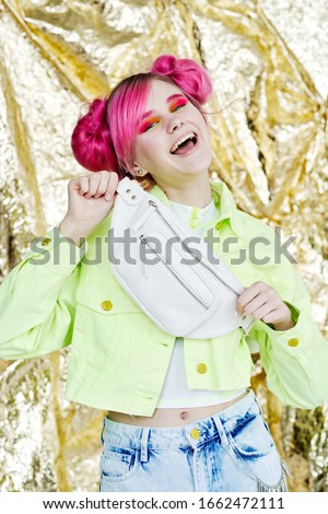 young woman with pink hair isolated background