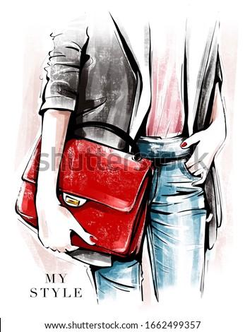 Hand drawn female body parts in fashion clothes. Fashion look sketch. Stylish girl holding red bag. Fashion illustration.