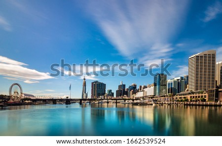 Cityscape at Pier 26 and Darling Harbour in Sydney, Australia. Royalty-Free Stock Photo #1662539524