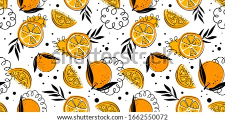 Seamless bright light pattern with Fresh oranges for fabric, drawing labels, print on t-shirt, wallpaper of children's room, fruit Summer background. Slices of orange doodle style cheerful background. #1662550072