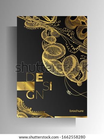 Cover design for book, magazine, catalog brochure. Hand-drawn graphic elements black with gold. A4 format. Vector 10 EPS. #1662558280