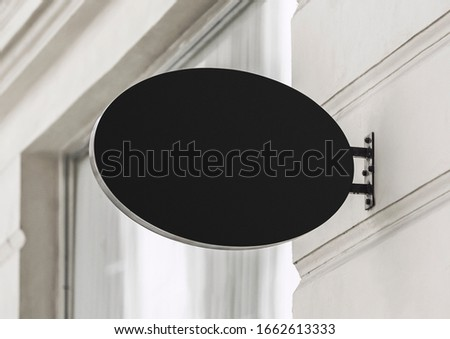 Blank store signage sign design mockup isolated, Clear shop template. Street hanging mounted on the wall. Signboard for logo presentation. Metal cafe restaurant bar plastic badge black white.  #1662613333