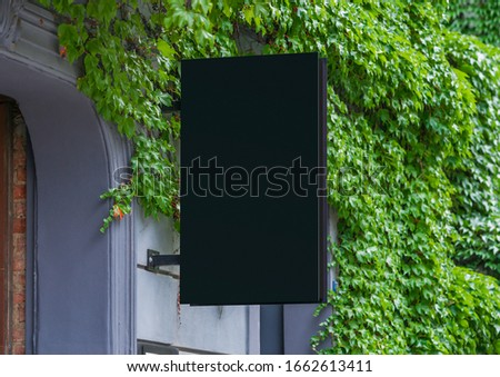 Blank store signage sign design mockup isolated, Clear shop template. Street hanging mounted on the wall. Signboard for logo presentation. Metal cafe restaurant bar plastic badge black white.