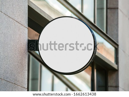 Blank store signage sign design mockup isolated, Clear shop template. Street hanging mounted on the wall. Signboard for logo presentation. Metal cafe restaurant bar plastic badge black white round.