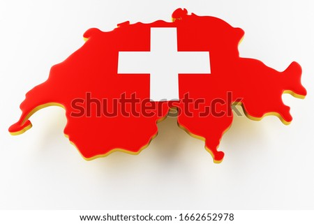 3D map of Switzerland. Map of Switzerland land border with flag. Switzerland map on white background. 3d rendering