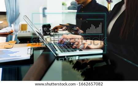 Business teamwork or business partners discussing documents and meeting at the modern office desk, Innovation Graphs Interfaces icons, Workplace strategy concept. #1662657082