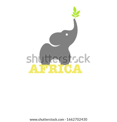 Illustration of an elephant. Word Africa with an elephant