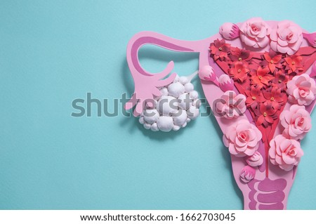 Concept polycystic ovary syndrome, PCOS awareness. Women reproductive system. Paper sculpture with flowers, copyspace Royalty-Free Stock Photo #1662703045