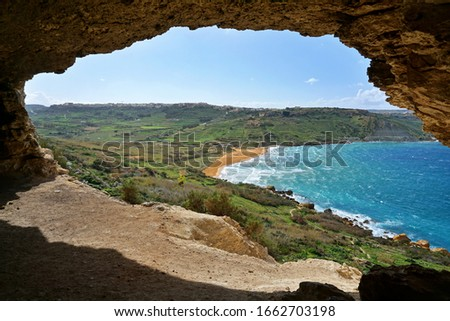 Tal-Mixta Cave - amazing cave with incredible sea and beach view. Romantic place recommended to everybody who wants to spend a nice time together or just want to make a fantastic picture.