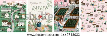 Garden! Set of posters landscape spring farm village, young girl with potted plant, woman cares for garden, grows organic vegetables and herbs. Vector illustration for card, postcard or poster #1662718033