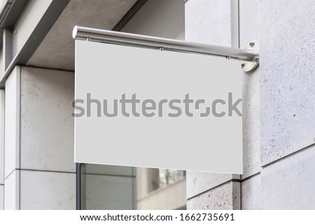 Blank store signage sign design mockup isolated, Clear shop template. Street hanging mounted on the wall. Signboard for logo presentation. Metal flag cafe restaurant bar plastic badge black white.