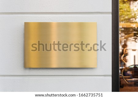Blank store signage sign design mockup isolated, Clear shop template. Street hanging mounted on the wall. Signboard for logo presentation. Metal gold cafe restaurant bar plastic badge black white.