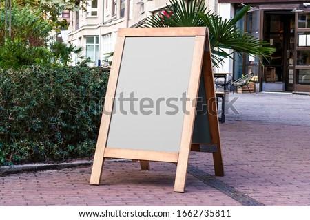 Blank store signage sign design mockup isolated, Clear shop template. Street Magnetic Sidewalk Chalkboard. Signboard for logo presentation. Metal cafe restaurant bar plastic badge black white.