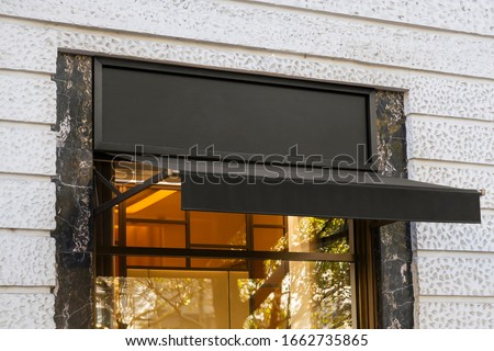 Blank store signage sign design mockup isolated, Clear shop template. Street hanging mounted on the wall. Signboard for logo presentation. Metal fashion cafe restaurant bar plastic badge black white.