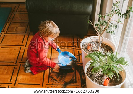 Very messy baby cleaning plant soil from the floor #1662753208