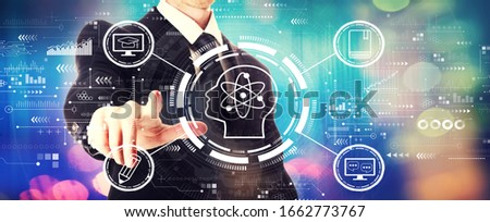 Online education concept with a businessman on a shiny background #1662773767
