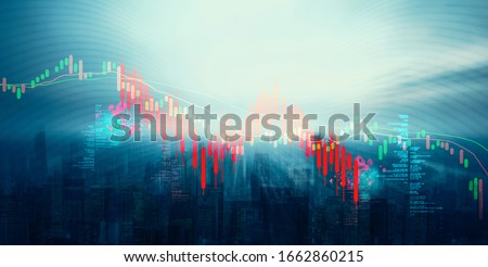 World stock graph has down from virus corona outbreak. COVID-19 shurtdown world business economy concept. Digit number on city background. #1662860215