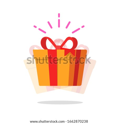 Happy gift box prize vector icon or cheerful giveaway surprise present with sparkles flat cartoon illustration, modern design yellow award present symbol isolated #1662870238