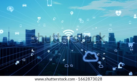Wireless communication network concept. Mobile technology. Royalty-Free Stock Photo #1662873028
