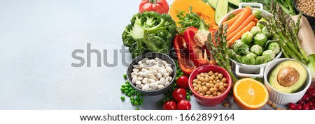 Raw healthy food for vegans.Vegetable albumen sources. Foods high in Plant protein, vitamins, mineral, fiber and antioxidants. Vegan and vegetarian food concept. Panorama, banner  with copy space. #1662899164