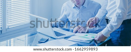 business team people working on marketing plan  together in modern office, teamwork banner background