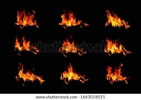 Set of fire 9 picture fire, fiery energy, combustible fuel On a black background