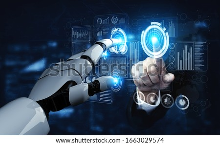3D rendering artificial intelligence AI research of robot and cyborg development for future of people living. Digital data mining and machine learning technology design for computer brain. Royalty-Free Stock Photo #1663029574