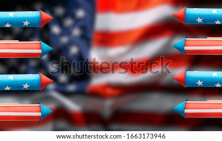 American Independence Day celebration banner with fireworks rockets made in american flag style