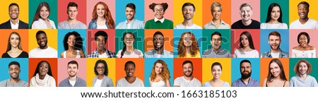 Collage Of Diverse People Portraits With Smiling Millennials, Female And Male Faces On Colorful Backgrounds. Panorama #1663185103