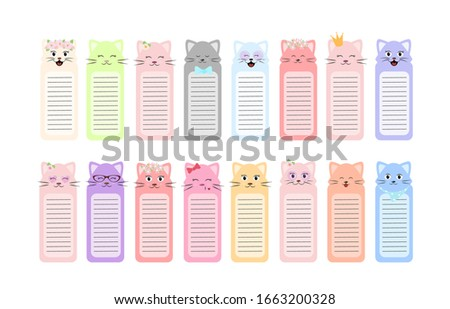 Collection of paper stickers, bookmarks, labels and tags with a cat. Cute collection of paper bookmarks for children's books with a cat in a flat cartoon style isolated on a white background. Vector #1663200328