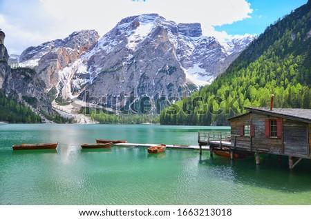 Cappella Lago di Braies, Kapelle Pragser Wildsee lake in Dolomites, Dolomiti mountain, Prags, South Tyrol, Italy #1663213018