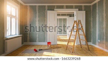 Room in renovation in elegant apartment for relocation with paint bucket and  Flattened drywall walls #1663239268