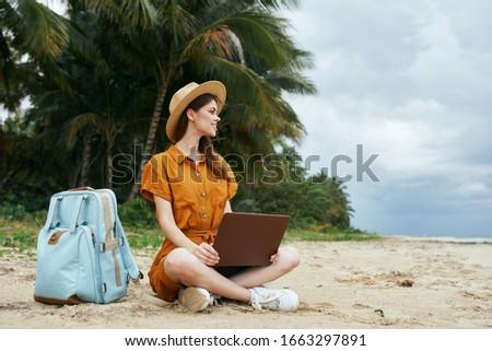 Women outdoors backpack nature walk beach destination #1663297891
