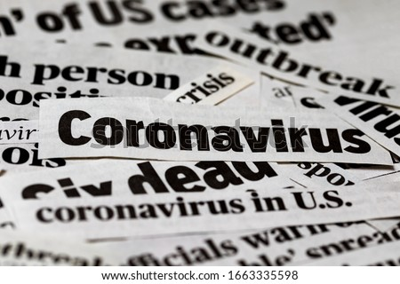 Coronavirus, covid-19, newspaper headline clippings. Print media information isolated #1663335598