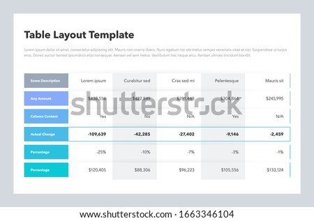 Modern business table layout template with place for your content. Flat design, easy to use for your website or presentation. Royalty-Free Stock Photo #1663346104