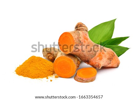 Turmeric (Curcuma longa Linn)  rhizome (root) sliced with Finely dry powder and green leaves isolated on white background. #1663354657