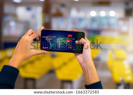 Breaking news on mobile phone highlighting coronavirus outbreak in China and Transmitted worldwide Pandemic concept of international contamination with biologically weapons.Vector illustration EPS 10. Royalty-Free Stock Photo #1663372585