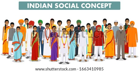 Family and social concept. Group indian people standing together in different traditional clothes on white background in flat style. Vector illustration. Royalty-Free Stock Photo #1663410985
