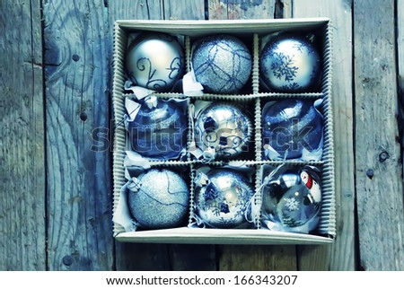 Photo of christmas blue Christmas ball #166343207