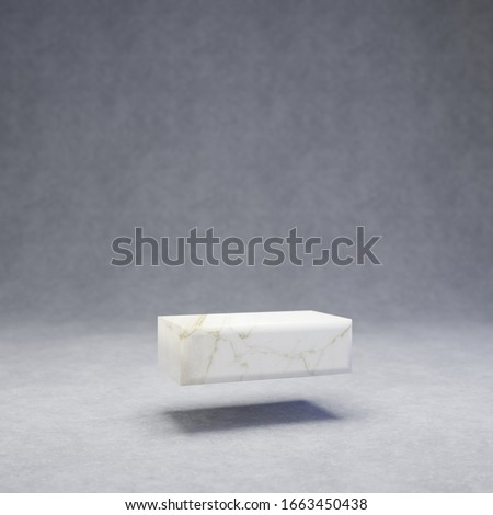 White marble dash symbol on concrete background. 3d rendered glossy stone font character. #1663450438