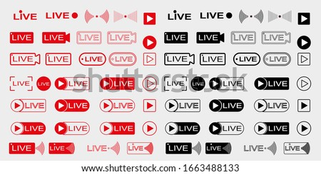 Live broadcast icons set. Live video streaming. Red symbols and buttons for live broadcast, online broadcast. Red and black buttons for live and online applications. Vector illustration #1663488133
