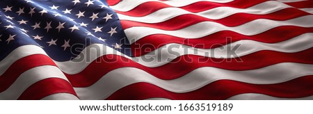 American Flag Wave Close Up for Memorial Day or 4th of July Royalty-Free Stock Photo #1663519189