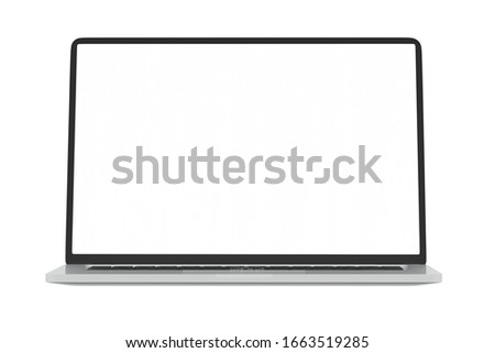 Modern computer laptop Open white screen isolated with clipping mask on white background for present advertising product or Webpage design mockup,3D render illustration